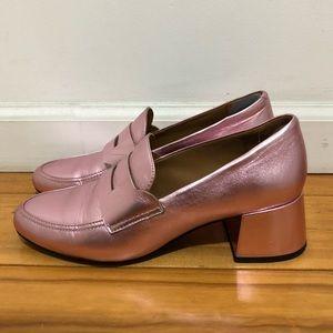 Metallic pink block heel loafer shoes